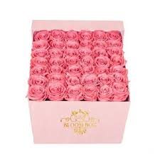 50 pink color roses in a pink box