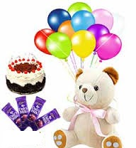 6 Inch Teddy With 12 Air Balloons 1 2 Kg Black Forest Cake And 4