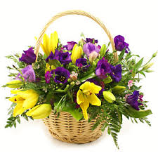 Basket of assorted flowers