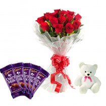 5 Cadburys Dairy mulk chocolates with 12 Red roses and Teddy (6 inches)