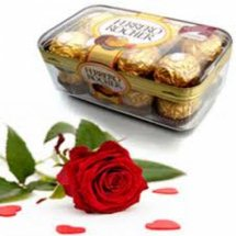 Ferrero rocher 16 piece box with 1 red rose