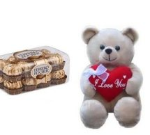 Ferrero rocher 16 piece box with a 6 inches Teddy bear