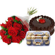 Ferrero rocher 16 piece box with 6 red roses and half kg chocolate cake