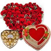 Heart chocolate box with 20 red roses heart and 1 Kg heart chocolate cake