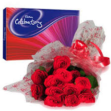 Cadburys celebration with 12 red roses