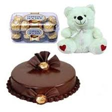 Ferrero rocher 16 piece box with 6 inches Teddy and half kg chocolate cake