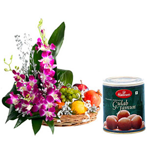 Orchids basket with 2 kg fruits and 1 kg gulab jamun sweets