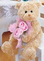 2 feet pink teddy bear with 3 roses