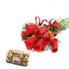 6 red roses, 16 pieces ferrero chocolates