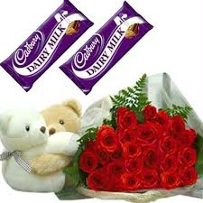 12 red roses 2 teddy bears and 4 silk chocolates