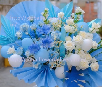 30 Blue (sprayed with colour) and White Rose basket with Blue paper fans and a few blue white balloons