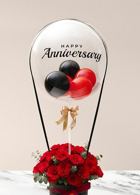 Happy transparent printed transparent balloon with 4 black and red air balloons and 20 red roses arrangement