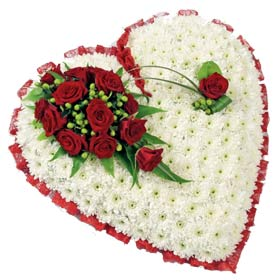 Heart Arrangement with white flowers