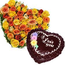 20 mix roses heart, 1 kg heart chocolate cake