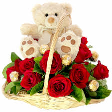 6 red roses and 6 inch teddy in same basket