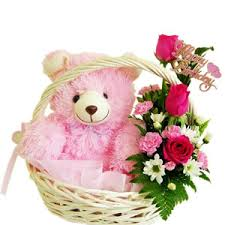 6 inch teddy with 3 roses in same basket
