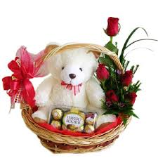 16 Ferrero, Teddy and 6 red rose all in a Basket