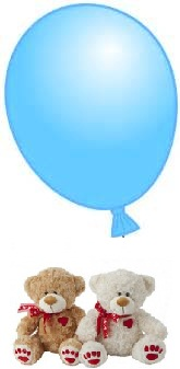 1 Blue Air Blown balloon 6 inches 2 Teddy bears