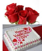 1 Kg Pineapple square Cake icing Happy Valentines Day with 5 roses