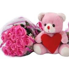 12 pink roses pink teddy bear with valentine heart
