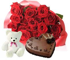 1 Kg chocolate heart cake, Teddy and 12 red roses