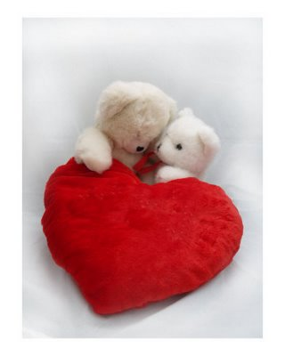 6 inch Valentine heart with 2 teddies
