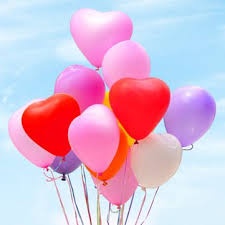 20 heart shaped gas balloons