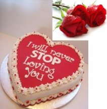 1 Kg pineaaple Heart Cake with icing I will never stop loving you 4 roses free