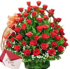 20 red roses in a basket