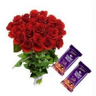 12 red roses hand bouquet with 2 cadbury chocolates