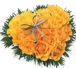 24 yellow roses heart
