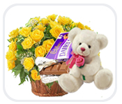 6 inch teddy with dairy milk bar and 20 yellow roses